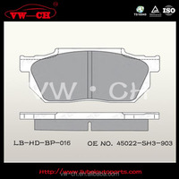China hot sale auto disc brake pad manufacturer OEM 45022-SH3-903