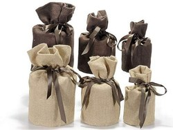 Jute Bag With Bottom, Jute Gift Pouch With Bottom, Party Favor