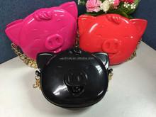 3D Cartoon Bag Kids Mini Handbag, Colorful Cute Pig Jelly Designer Handbags