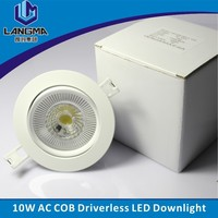 Langma Wholesale 95mm Cutout Driverless Led Down light Kits 10W 1105LM 110V 230V AC COB leds Dimmable lamp 3000K 4000K 6000K