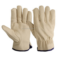 Beige cowhide grain leather working driver safety gloves from China supplier