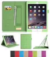 Green PU Leather Flip Cover for iPad Air 2-Card Holder,&Sleep Function