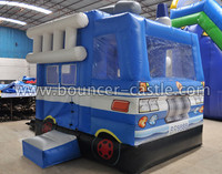 2015 NEW Mini Fire engine in blue jumping castle for sale hot party rental jumping games