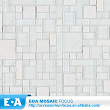 High Quality New Design Supe White Square Stone Frost Glass Mosaic Hurricane
