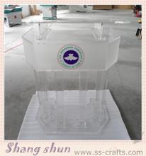 High quality clear organic glass church pulpit/acrylic podium/lectern/rostrum