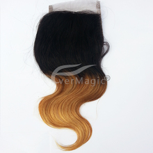 """2014 Wholesale EverMagic hair Products 8""""-24"""" ombre two tone #1b/#30 sbody wave brazilian virgin hair lace closure"""