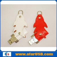 Factory price fish shape leather USB flash drive with high speed usb 2.0