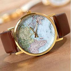 Vintage World Map Globe Fashion Leather Alloy Womens Analog Quartz Wrist Watch