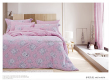 cheap price pink flower print queen size 100% cotton bed sheet set for double bed