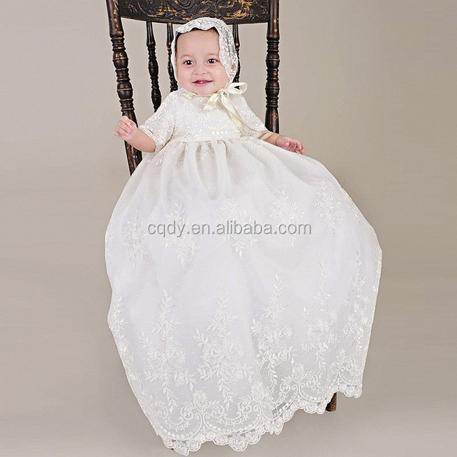 With Hat Baby Girls Christening Baptism Dress Long Embroidery ...