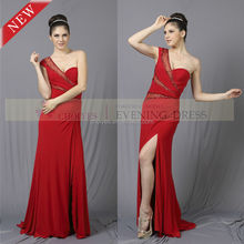 Fashion one shoulder evening dress wholesale clothes turkey istanbul, red dress
