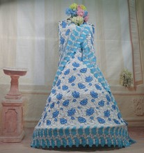 2015 bonito vestido de verão rendas seco africano tecido tule bordado