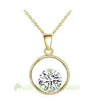 float floating round zircon pendant necklace 18k yellow gold plating Necklace chocker Fashion jewelry woman man couple 30999