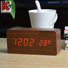 2015 new design wholesale wooden led display alarm clock as best gifts