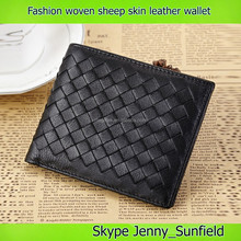 fashion hand woven ship skin genuine leather wallet men