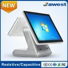 Pos AW1531 15 polegada 9.7 polegada duplo painel sistema Pos tela com restaurante software