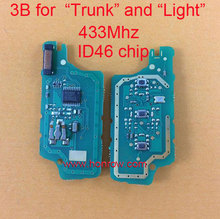 """433Mhz ID46 Chip for Peugeot 3 button flip remote control PCB board for """"Trunk"""" and """"Light"""" Button and 307&407 Blade"""