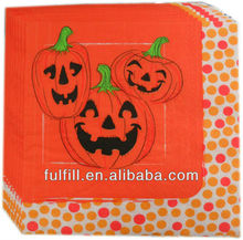 Zhejiang Yiwu factory wholesale Halloween Party colorful printed tissue napkin paper serviette
