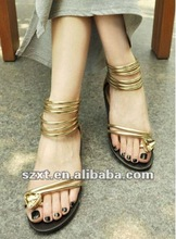 newest golden ladies flat sandals low price ladies sandals