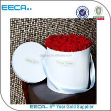 Customized logo gold hot stamping round flower cardboard gift box in China