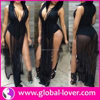 Factory price black big V neck side split gowns for big women