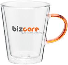 12oz double wall glass mug with colored handle