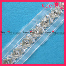 Keering 2015 cheap wholesale beaded lace trimming WTP-835