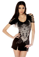 Womens Gothic Ripped Cross T shirts /Rhinestone women tops/Rhinestone women sexy blouse