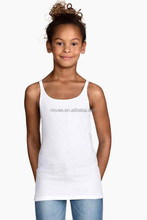 China Exporting Summer Children Clothing Solid Color Blank Sleeveless T-Shirt 100 Cotton Girls Singlet Tops Tee
