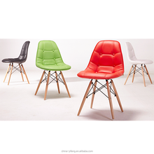 Modern beauty wood legs emes leather dining chair