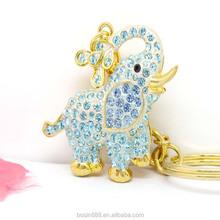 new design custom metal name keychain blue elephant rhinestone pendant keychain #15896
