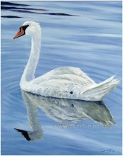 handmade oil painting swans on canvas for home decoration