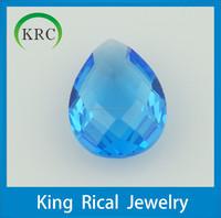 Synthetic gemstone loose gemstone pear laser cut gemstone dark aquamarine glass stones jewelry