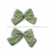 Green sequin butterfly bow barrettes