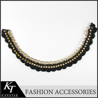 Golden Chain Belt Sewing On Lace Brightly Crystal Beaded Handmade Lace Collar Necklace
