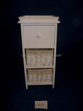 white solid wood factory direct sales cabinet with wicker and wood drawer