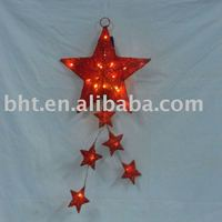 Hanging sisal star with lights