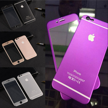 For iPhone 6 for Iphone 6 Plus Coloured 3D Metal Full Screen Cover Tempered Glass Case Skin