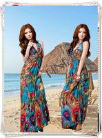 Women Fashion Deep V Neck open back Peacock Beach Maxi Dress Bohemian Flower Printing 2662