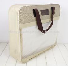 Oemed transparente y duradera impresa color de pvc y no tejido funda de colchón bolsa con asas