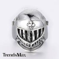 Trendsmax 24mm Silver Tone Medieval Crusader Skeleton Warrior Knight Helmet 316L Stainless Steel Mens Ring