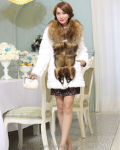whole skin rabbit fur coat, long length and big raccoon fur coat. different color and size