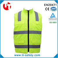fluorescent yellow waterproof high visibility winter safety warm jacket