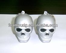 Halloween anti-stress PU foam skull shape keychain