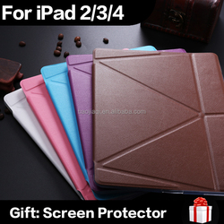 Wholesale Luxury ultrathin PU Leather Case For iPad 2 iPad 3 iPad 4 Smart Magnetic Wake Sleep Cover TPU Back Adjustable Stand