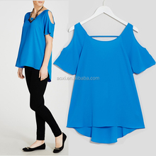 Fashion new ladies work wear career blouse tops chiffon cold shoulder top fancy