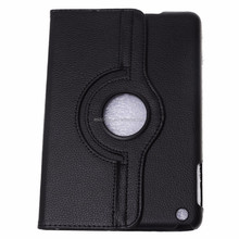 Hot selling Luxury Lichee Pattern 360 rotating flip leather case cover for ipad 1/2/3 (Black)