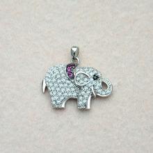 Black eye micro pave cz elephant animal copper pendant for girls,rhodium plated