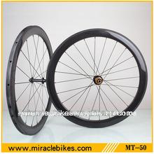 Milagro bicicleta caliente venta de ruedas de carretera de carbono, 50mm t700 bicicleta de carretera de carbono juego de ruedas