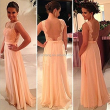 2014 Vestidos De Fiesta Best Sale Peach Long Chiffon A-Line Formal Evening Gowns Nude Back Lace Prom Dresse
